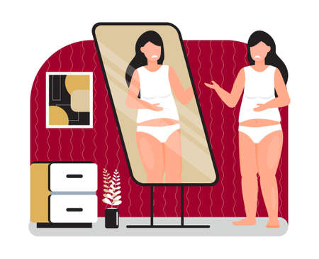 Upset and fat girl is looking in mirror. Obesity concept vector. Depression, mental, disorder problems. Starting a diet illustration. Overweight woman is unhappy with her reflection