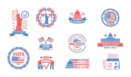 2020 United States of American Presidential Election in November 3. Electoral campaign, agitation, reelection calling banner set vector, flyer. Vote 2020 with USA flag.