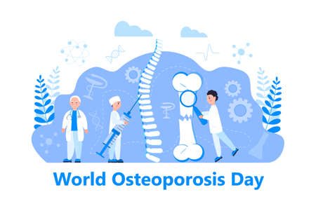 Osteoporosis world day concept, osteoarthritis anatomical vector. Tiny doctors research bones of human. Joint pain, fragility of lower leg are shown. Vecteurs