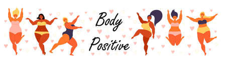 Body positive concept vector. Happy plus size girl wearing swimsuit and smiling. Active healthy lifestyle and love your body illustration. Different races and color skin women are laughing.