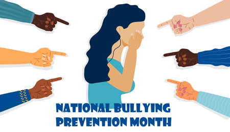 National Bullying Prevention month in October in USA. Victim girl scene in society. Stressed woman in shame and hands with pointing finger. Concept of accusation, depression in work, in school.