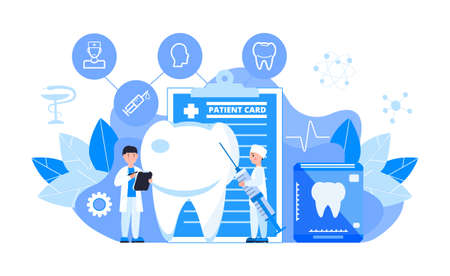 Dentist service vector concept for landing page. Tiny dentists make x-ray scan of teeth to help toothache, to whiten enamel or recovery implant.