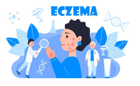 Eczema, psoriasis concept vector. Sad cute girl on the blue background. Tine dermatologists treat eczema of patient.