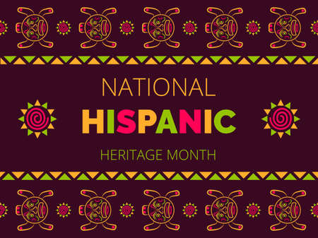 National Hispanic Heritage Month celebrated from 15 September to 15 October USA. Latino American poncho ornament vector for greeting card, banner, poster