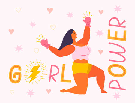 Girl power and feminism concept vector. Latino boxer woman is strong. Thunder lightning in text is shown. Gender equality letterings with stars.