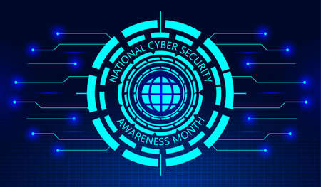 National Cyber Security Awareness Month concept vector. It is observed in October in USA. Hud elements, global icon, concept vector are shown on ultraviolet background for banner