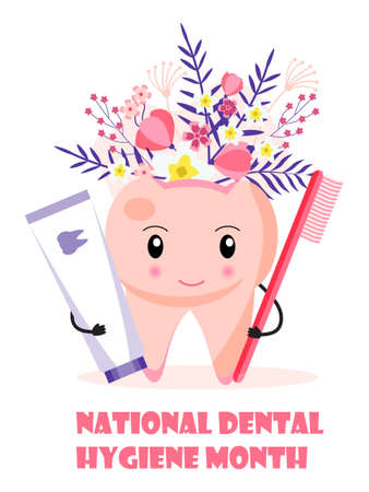 National Dental Hygiene Month celebrated in October. Cute tooth is smiling and holding brush and tube of paste. Dentist service vector concept vector for banner.