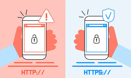 HTTP and HTTPS protocols difference concept vector. Cyber safe, security for website, app are shown. Lock is opened and closed on screenshots illustration in flat style. 矢量图像