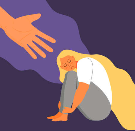 Stressed, frustrated girl concept vector. Scene of accusation in life, depression in work. Human hand helps lonely woman. Upset girl with long hair sits and hugs her knees.