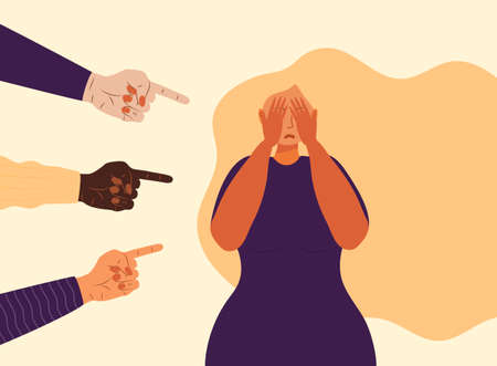 Victim girl scene in society. Stressed woman in shame and hands with pointing finger. Concept of accusation, depression in work, in school. National Bullying Prevention month in October in USA.