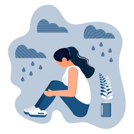 Stressed, frustrated girl concept vector. Scene of accusation in life, depression in work. Upset woman with long hair sits and hugs her knees. It is raining and cloudy. Illustration