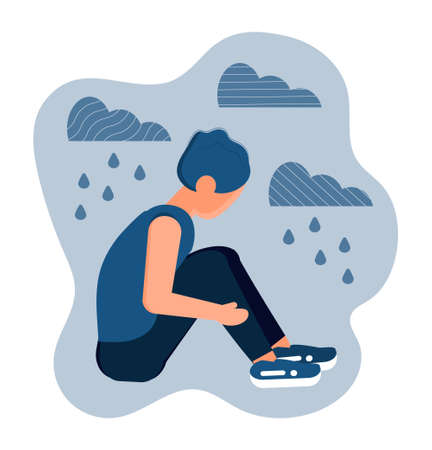 Stressed, frustrated boy concept vector. Scene of accusation in life, depression in work. Upset man hugs her knees. It is raining and cloudy.