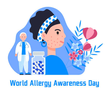 World allergy awareness day concept vector for medical website, app, banner. Doctor treats woman with disease of the skin and dermatological problems.