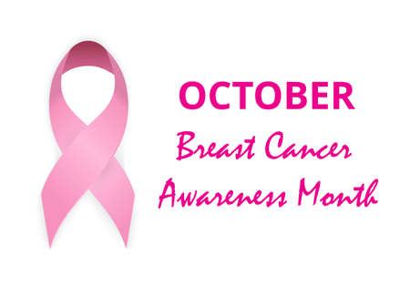 National Breast Cancer Awareness Month concept vector for banner, poster. Big pink ribbon illustration. Annual international health campaign organized by cancer charities every October.