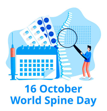 World spine day concept vector. Event is celebrated in 16 October. Skeleton and doctors are shown.