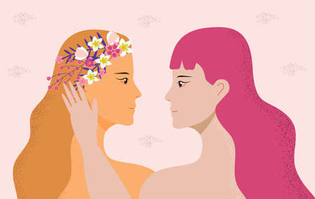 Lesbians concept vector. Homosexual partners in love. Women are flirting and smiling. LGBT pride illustration. Date for two girls. Valentin greeting for couple of nontraditional 向量圖像