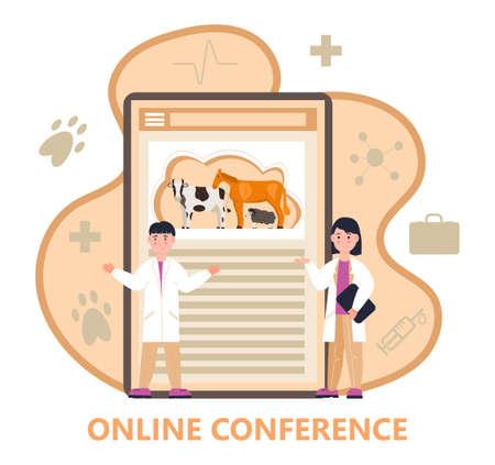 Veterinarian concept vector. Animal doctors diagnosing diseases. Pet health care for website. Veterinary physician treatment illness animals.