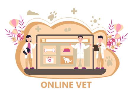 Veterinarian concept vector. Animal doctors diagnosing diseases. Pet health care for website. Veterinary physician treatment illness animals. Ilustración de vector