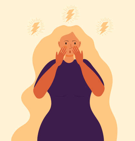 Stressed, frustrated girl concept vector. Horror, shock and scene of accusation in life, depression in work. Upset girl with long hair sits. Difficult task, problem illustration. 矢量图像