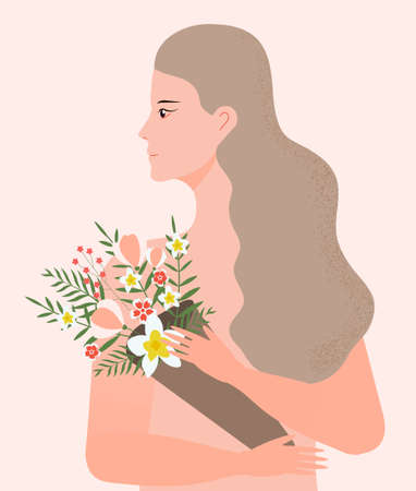 Silhouette girl profile concept vector. Woman with long hair and holding a bouquet of tropical flowers. Love yourself illustration. Valentine or woman s day invitation poster