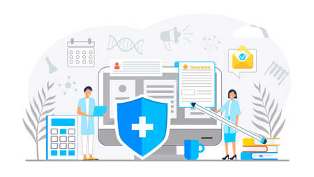 Healthcare insurance vector concept, people with doctor fill health online form insurance. Help agent service for calculate insurance bill. it can used for landing page, UI, web, app.