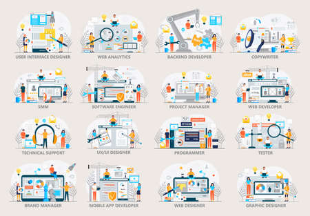 Web developer, project manager, seo, SMM in IT company concept vector for landing page. Set of programmer job scenes. Software engineer, UI, UX and graphic designer using crane and constructs website