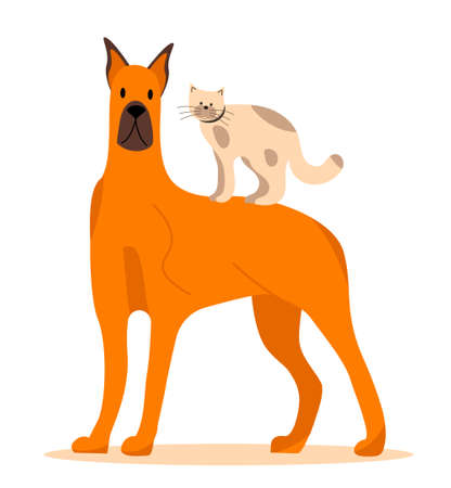 Dog and cat icon vector isolated on the white background in flat style. Brown doggy with brown ears and kitten with spots are shown. Veterinary help, homeless animals illustration.