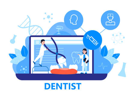 Dentist service vector concept for landing page. Tiny dentists make x-ray scan of teeth to help toothache, to whiten enamel or recovery implant. Online conference for dentistry specialists.