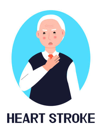 Heart stroke icon vector.Hypertensive crisis, atherosclerosis, chest pain is shown. Senior man grabs his chest. Illustration for cardiological problem.