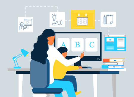 Online preschool concept vector. Young woman teaching son to read using website, virtual platform. Tutorial, lecturer, calendar, blogging icons are shown. Remote school lesson illustration.