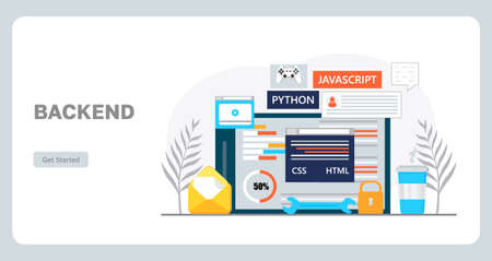 Web developer workplace concept vector for landing page. Construction of website and writes code. Software engineering in digital technology. Software development is shown