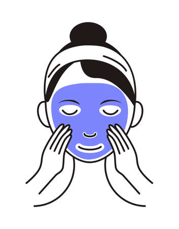Facial mask sheet applying icon vector. Girl shows how to cleaning, whiting face and use cosmetic mask. Info-graphic in outline style illustration isolated