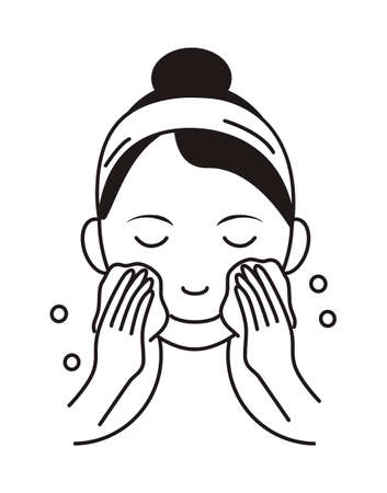 Washing face icon vector. Girl shows how to cleaning, whiting face and use cosmetic cleanser. Info-graphic in outline style illustration isolated Ilustração Vetorial