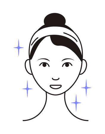 Shining face icon vector. Girl shows her face after cleaning, whiting face and using of cosmetic cleanser. Info-graphic in outline style illustration isolated