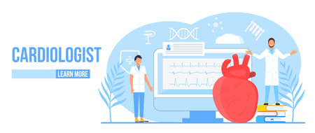 Cardiologist concept vector. Hypo-tension and hypertension disease illustration for cardiology homepage. Symptoms and prevention blood pressure. Tiny doctors treat heart.