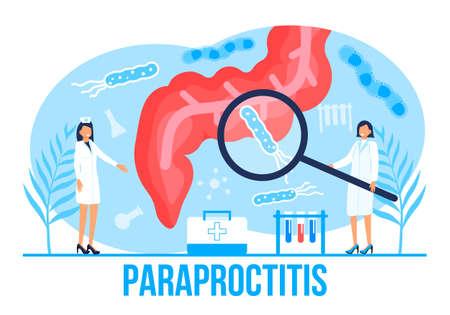Para proctitis concept vector for medical web. app. blog. Intestine doctors examine, treat dysbiosis. Tiny therapist of proctology make colonoscopy. Proctologist working.
