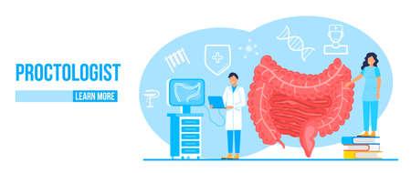 Proctologist concept vector for medical web. app. blog. Intestine doctors examine, treat dysbiosis. Tiny therapist of proctology make colonoscopy.