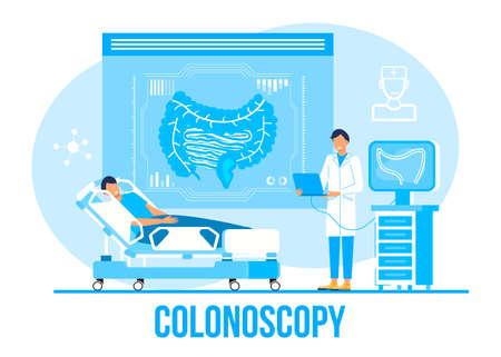Colonoscopy concept vector for medical web. app. blog. Intestine doctors examine, treat dysbiosis. Tiny therapist of proctology make colonoscopy. Proctologist.