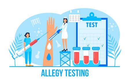 Allergist concept for medical websites and landing pages, blog. Disease of the skin and dermatological problems. Allergy testing illustration. Psoriasis, vitiligo, dermatitis, human rash.