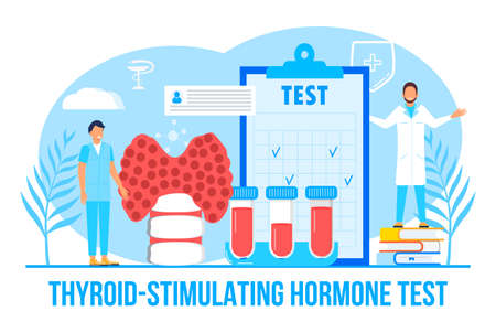 Thyroid-stimulating hormone test concept vector for medical website. Hypothyroidism concept vector. Endocrinologists diagnose and treat human thyroid gland. Specialists make blood test on hormones.