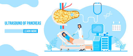 Ultrasound of pancreas doctors examine, treat pancreatitis. Stethoscope, calendar are on blue background. Health care flat concept for landing page, website, app.