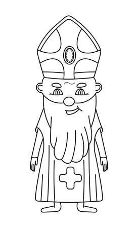 Bishop coloring page vector. Cute smiling priest in black line style. Easter coloring book for children