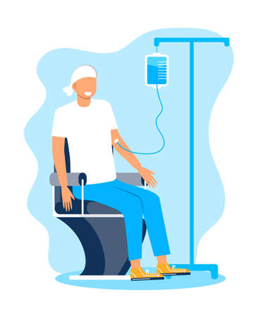 Chemotherapy and oncologist concept vector for app, web, blog. Oncology treatment of patient and fight with cancer. Innovation therapy illustration. IV fluids, chemotherapy banner.