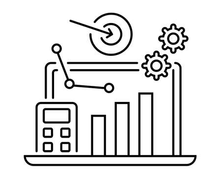 Analytics icon. Business, marketing strategy illustration in outline style. Successful teamwork and competition scene. Laptop, graph, gears, target