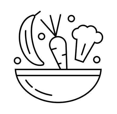Health diet icon in outline style. Carrot, broccoli, banana, green peas, bowl