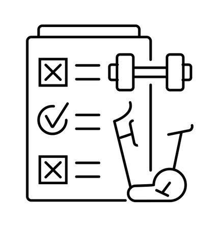 Regular sport exercises icon in line style. Planner, dumbbell, elliptical cross trainer, exercise bike