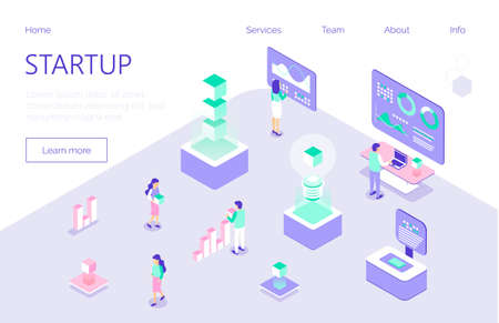 Startup and coworking office concept vector. Freelancers, businessman for expo, forex, illustration. Internet communication business in trendy isometric