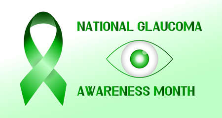 Glaucoma Awareness Month is celebrated in USA in January. Green ribbon is waving. Healthcare vector illustration banner