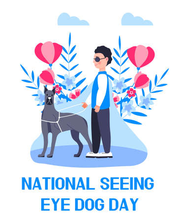 National seeing eye dog day concept vector. Event is celebrated in 29th January. Blind man with guide dog illustration for banner, web 向量圖像