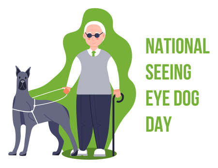 National seeing eye dog day concept vector. Event is celebrated in 29th January. Blind man with guide dog illustration for banner, web Stock Illustratie